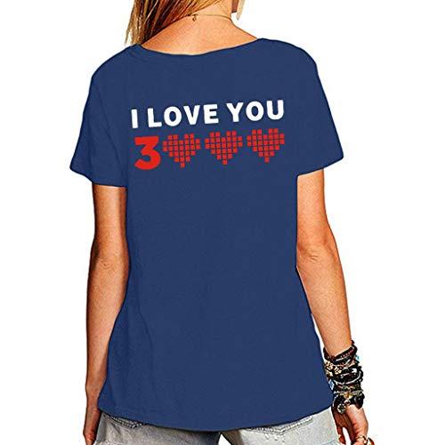 Kviklo Deman Plus Size Mann-Unisexpaar-Abnutzungs-T-Shirt Spitze Ich Liebe Dich 3000mal für Wunder-Eisenmann Tony Stark Druck(3XL(46),Blau-Damen 1)