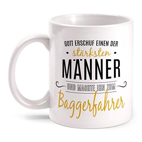 Fashionalarm Tasse Gott erschuf Baggerfahrer beidseitig bedruckt mit Spruch | Geschenk Idee...