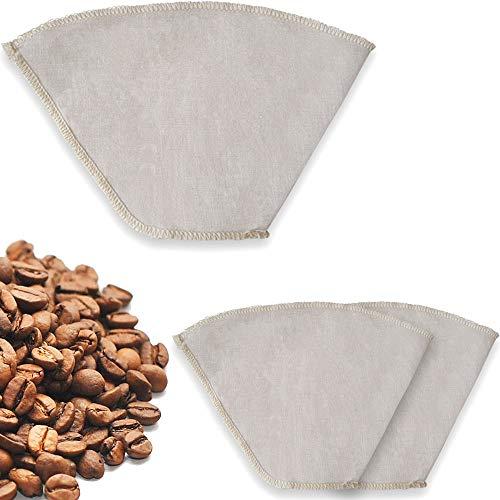 Earthtopia 3er Set wiederverwendbare Kaffeefilter aus Stoff | 100% Hanf | ökologische Filtertüten...