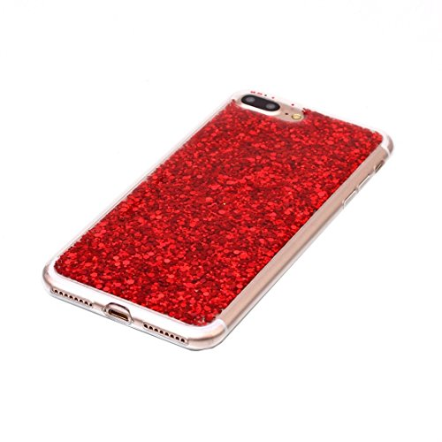 BING Für iPhone 7 Plus Glitzer Powder Soft TPU Schutzhülle BING ( Color : Silver ) Red