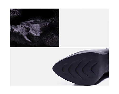 YYH Véritable bottes de cuir à la mode Astuce Martin femme chaude toison Nude bottes talons hauts Black
