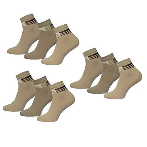 Premium Socks ! 9 Paar Kurzsocken Quartersocken Herren Baumwolle Sneaker Socken ohne Naht, Naturtöne 39-42
