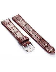 KS Bracelet de Montre Cuir Marron 18mm Militaire Bracelet Homme Replacement Watch Band Straps WB1807
