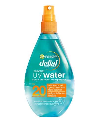 Garnier Delial Spray Protector Solar Transparente UV Water Alta Protección Cuerpo y Rostro IP20+- 150 ml