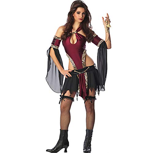Story of life Damen Halloween Party Königin Kostüm Cosplay Sexy Wonder Woman Piraten Kostüm Spiel Uniform,Black,M