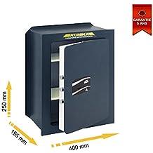 Stark 203TK Caja fuerte para empotrar, cerradura con llave, 400 x 250 x 195 mm