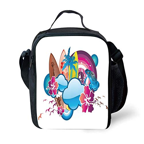 s Summer,Cartoon Print Season Hot Beach Vbes with Surfing Boat Waves Flowers Frogs Artwork,Multicolor for Girls or Boys Washable ()
