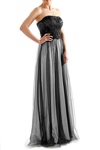 MACloth Women Two Tone Strapless Long Lace Tulle Prom Gown Evening Party Dress Schwarz