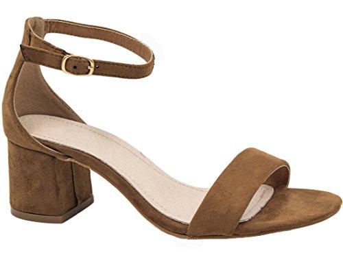 MaxMuxun Chaussures Femme Sandales Mi Talon EU 36-41 Taupe