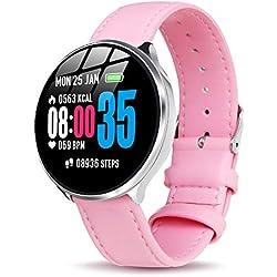 Smartwatch Mujer Impermeable Reloj Inteligente Elegante Pulsera Actividad Monitores de Actividad con Monitor de Sueño Pulsómetros Podómetro Notificación de Mensaje Compatible con iOS Android Rosa