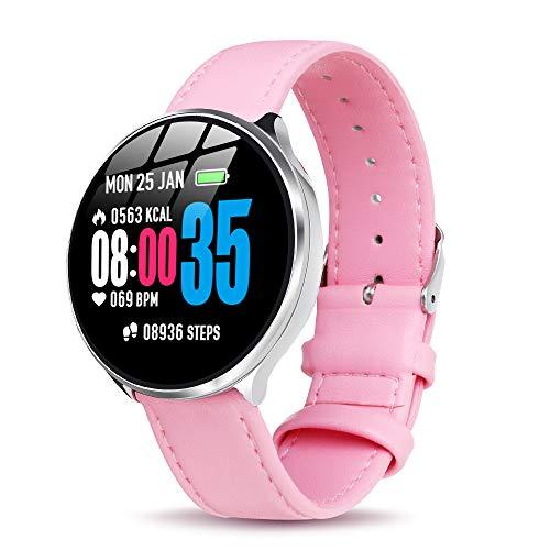 【Neuestes Modell】 Smartwatch mit Pulsmesser Damen Herren, GOKOO Bluetooth Sportuhr Fitnessuhr Intelligente Armbanduhr mit Schrittzähler Pulsmesser Schlafmonitor für Android IOS (rosa)