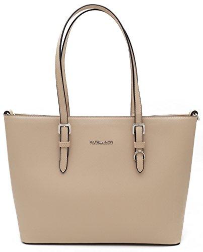 Damen Schultertasche Handtasche Schulterriemen von Flora&Co Paris Viele Farben inkl.Geldbörse Beigh
