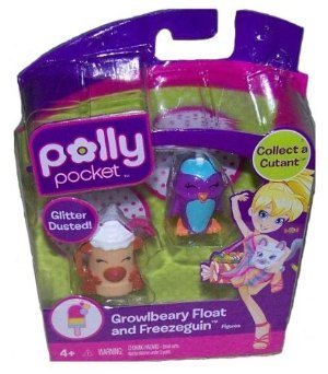 Polly Pocket Glitter Dusted Growlbeary Float and Freezeguin Figures by Mattel