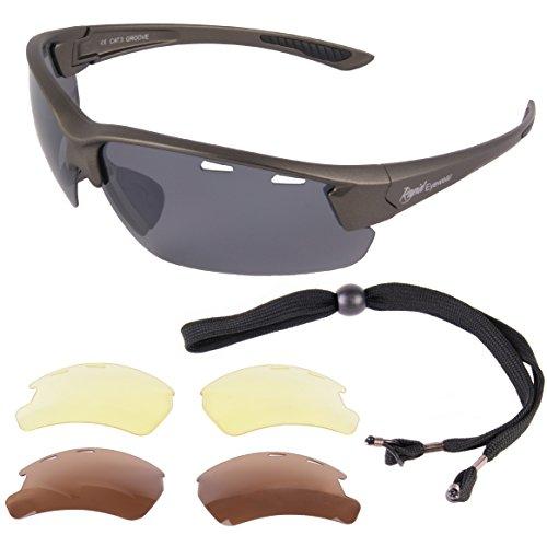 Rapid Eyewear 'Groove' Grau Polarisierte SPORTBRILLEN MIT WECHSELGLÄSERN Sport Brille für Damen und Herren. Polbrille für Angeln, Laufen, Autofahren Etc.