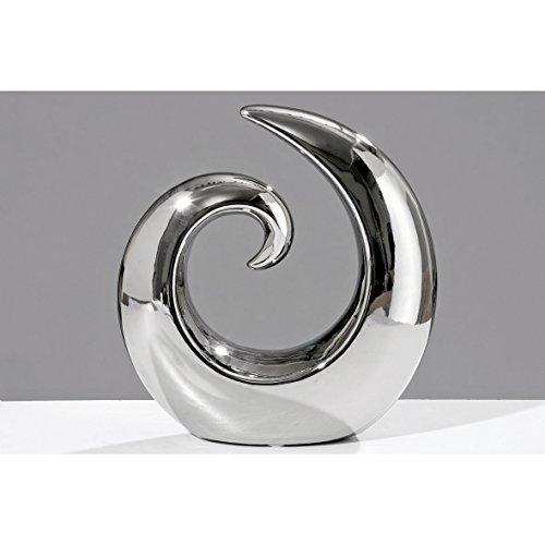 Keramik Deko-Objekt Swing silber 20cm Wave Figuren Skulptur