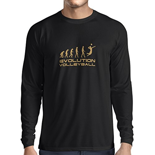 N4086L Evolution Volleyball lustiges Geschenk, Langarm T-Shirt (XXXL, Black Gold)