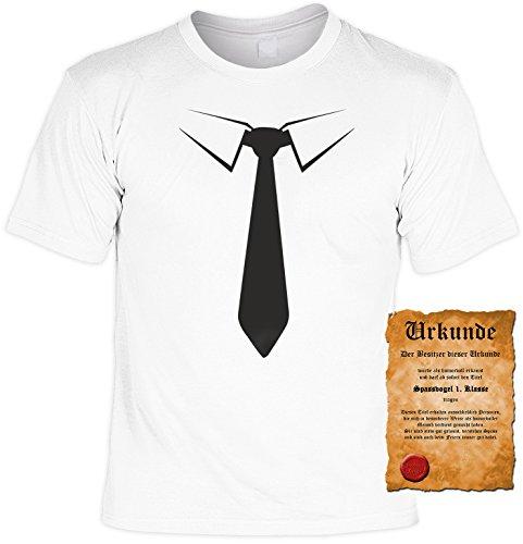 T-Shirt Herren Männer weiss Größen S- 5XL Funshirt mit coolem Aufdruck Krawatte schwarz Jungesellenabschied Geschenkidee Weiß