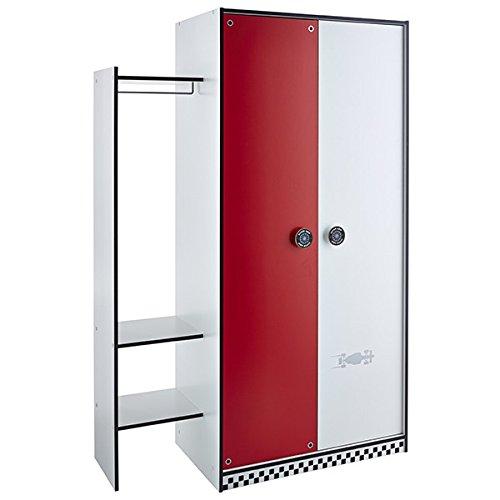 Kleiderschrank rot / weiß 2 Türen B 125 cm Schrank Drehtürenschrank Wäscheschrank Jungen Kinderzimmer Jugendzimmer Auto 1690