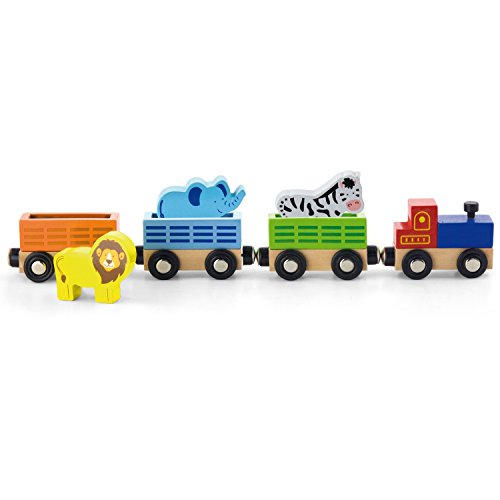 Viga Wooden Zoo Animal Train Set