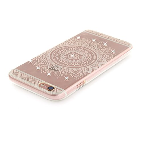 Coque iPhone 6S, Étui iPhone 6, iPhone 6S/iPhone 6 Case, ikasus® Coque iPhone 6S/iPhone 6 Fleur peinte avec Luxe Shiny Glitter Strass Cristal Brillant Bling Diamant Housse Transparent TPU Silicone Étu Mandala blanc