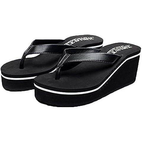 Auspicious beginning moda Pelle sandali della spiaggia piattaforma Zeppa Flip Flops