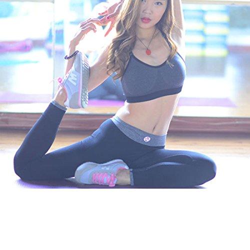 M-Queen Femme Pantalons Yoga Pants Sportswear Extensible Slim Fitness Gym Jogging Pantalon Leggings Noir