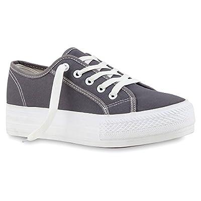 Sportliche Damen Plateau Low Sneakers Bequeme Schnürer Schuhe