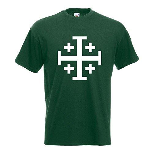 KIWISTAR - Jerusalemkreuz T-Shirt in 15 verschiedenen Farben - Herren Funshirt bedruckt Design Sprüche Spruch Motive Oberteil Baumwolle Print Größe S M L XL XXL Flaschengruen