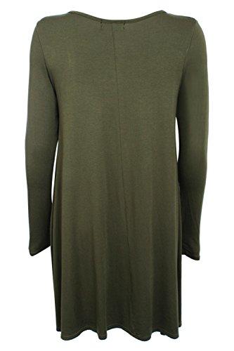 PILOT® Candice robe swing plaine manches longues vert kaki
