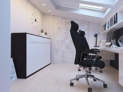 Cama plegable de 90cm horizontal color wengué/blanco cama plegable & cama de pared con SMART Punkt colchón de espuma fría 90x200 cm SMARTBett
