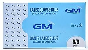 Gants latex bleu micro poudrés T.L(8/9) - Boîte(s) de 100