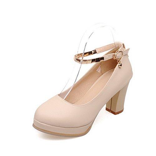 VogueZone009 Femme Couleur Unie Pu Cuir à Talon Haut Rond Boucle Chaussures Légeres Beige