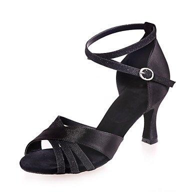 Chaussures De Danse - Non Personnalisable - Pour Femme - Danse Latino-américaine - Talon De Bobine - Satin -noir / Marron / Rouge / Argent / Transparent