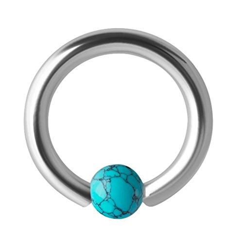 eeddoo Piercing-Ring Türkis-Stein Silber Edelstahl 1,2 mm x 8 mm