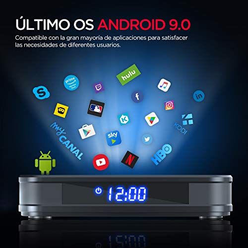 Android TV Box, BOMAKER Android 9.0 Smart TV Box 4GB RAM + 64GB ROM WiFi 2.4GHz / 5GHz, Admite 4K 3D USB 3.0 Ultra H.265 Bluetooth 4.0, Quad- Core 64- bit Arm Cortex- A53, Modelo A8, Negro