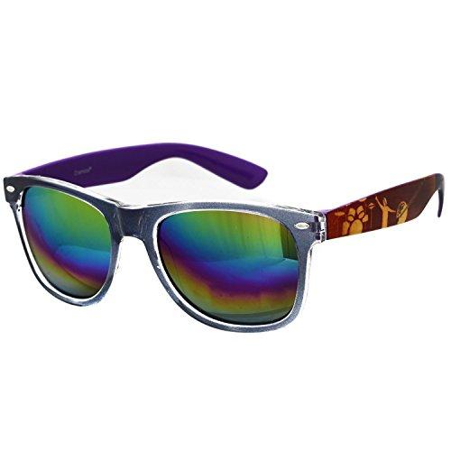 Oramics Wayfarer Sonnenbrille mit verspiegelten Gläsern in Lila mit stylischem Muster