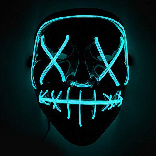 Immoch Halloween LED Masken Erwachsene LED Mask für Party Kostüm, Weihnachten, Cosplay Grimace Festival Party Show hellblau
