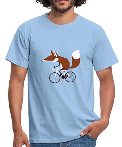 Spreadshirt Fuchs Auf Fahrrad Cycling Fox Männer T-Shirt, L, Sky