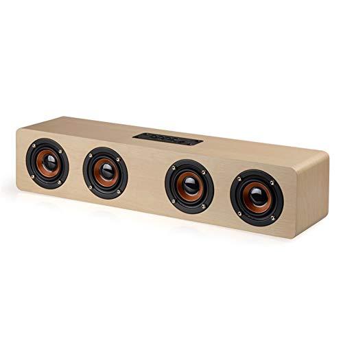 LNZIGK HiFi Bluetooth-Lautsprecher 4 Hörner High Power Wireless Stereo Subwoofer Holz Home Audio Tischlautsprecher Freisprecheinrichtung Tf-Karte Paly Yellow