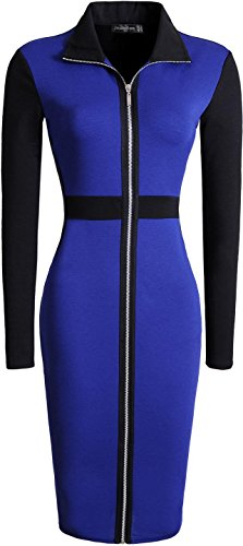 Jeansian Femme Entreprise Sexy Cocktail Parti Fashion Casual Slim Crayon Robes WKD203 Navy