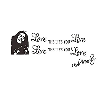 Love The Life You Live Bob Marley Vinyl Wall Sticker Diy Words Black Decor English by ASTrade