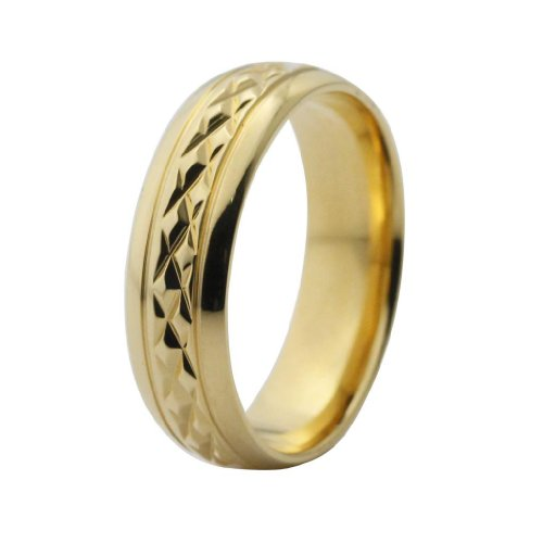 7mm Golden Coloured Faceted Titanium Wedding Band (See Listing for Sizes)