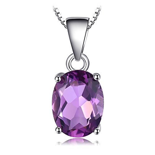 JewelryPalace Ovale 1.7ct Naturale Viola Ametista Birthstone Solitario Pendente Collana Solido 925 Sterling Argento 45cm