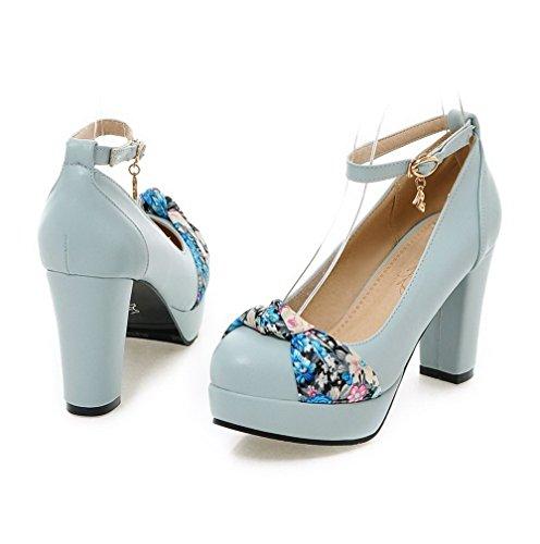 AllhqFashion Damen Blend Rund Zehe Hoher Absatz Schnalle Rein Pumps Schuhe Blau