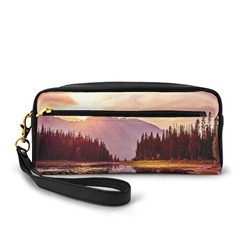 Pencil Case Pen Bag Pouch Stationary,Grand Teton Mountain Range At Sunset Jackson Lake Calm National Park USA,Small Makeup Bag Coin Purse -