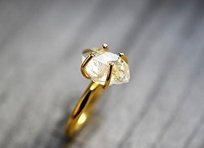 "Bague dorée ""Diamant d'Herkimer"""