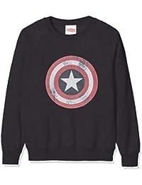 Marvel Avengers Captain America Distressed Shield Sudadera, Negro (Black Blk), 7-8 años (Talla del Fabricante: 7-8Y) para Niñas