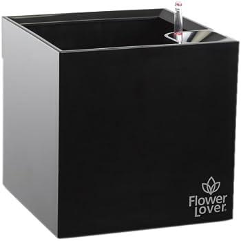 Flower lover Pflanzgefäß mit Bewässerungssystem Cubico, Schwarz, 21 x 21 x 21 cm