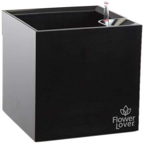 Flower Lover Cubico Pot de fleurs avec système d'arrosage 21 x 21 x 21 cm 21x21x21 noir