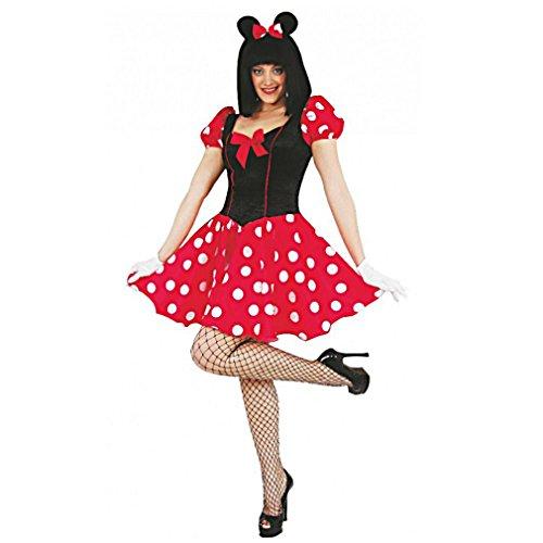 Damen Kostüm Maus, Kleid rot-schwarz Karneval (36) (38) (40) (42) (S) (Minnie Maus Schwarz Kleid Kostüm)
